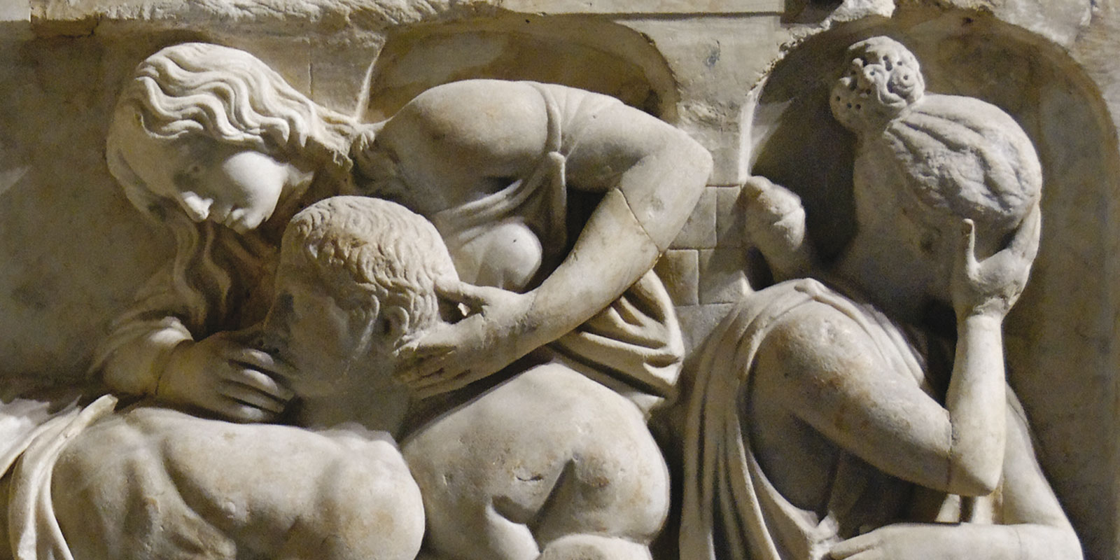 """Relief, so-called """"death of Meleager"""", Marble, 2nd century AD, may have come from a Roman sarcophagus"""