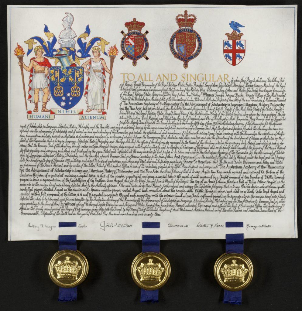 Royal charter and coat of arm seals