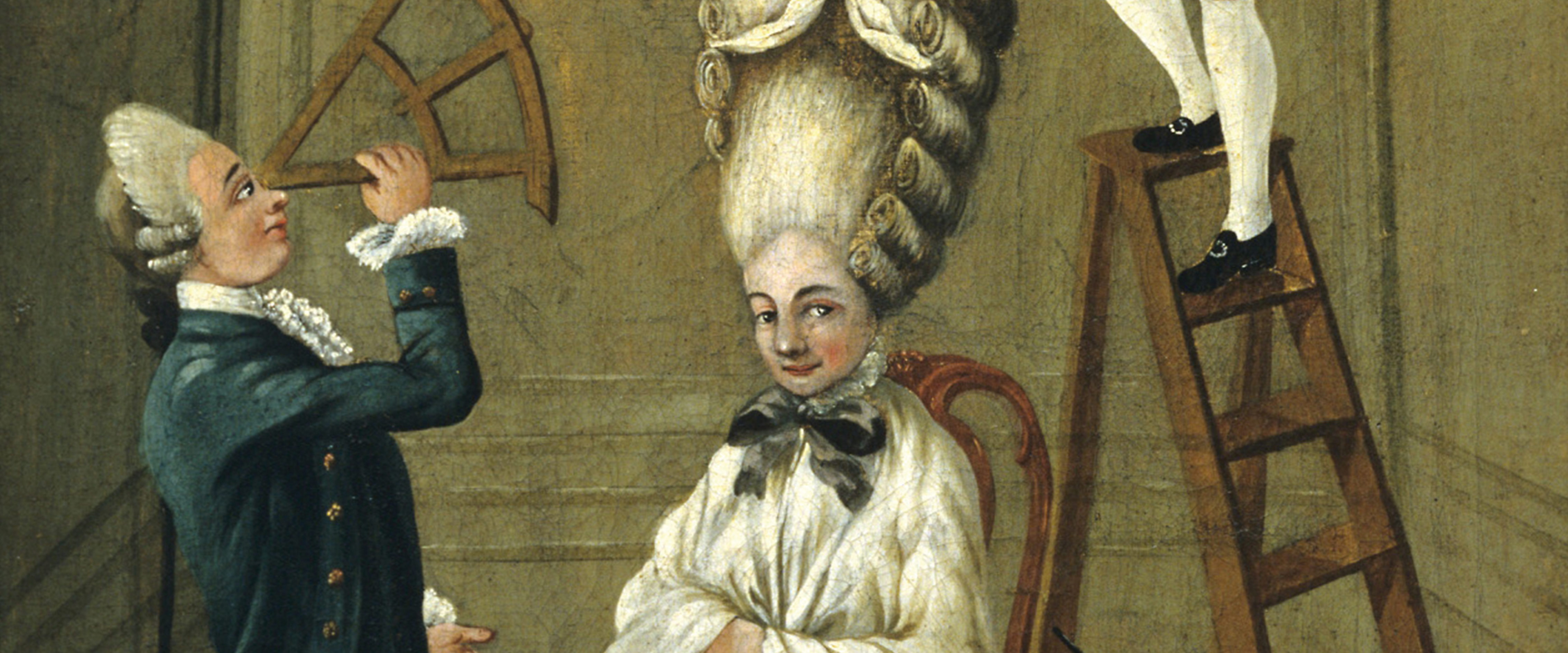 Detail of Ridiculous Taste or the Ladies Absurdity, oil on canvas painted on the reverse of a possible signboard, c. 1780 by Lunc Kulturen, Sweden.