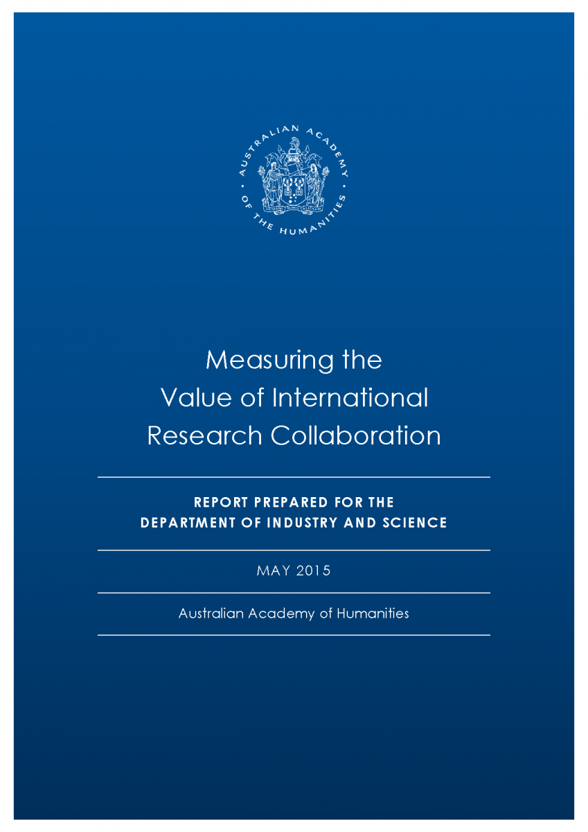 Cover page of Measuring the Value of International Research Collaboration report