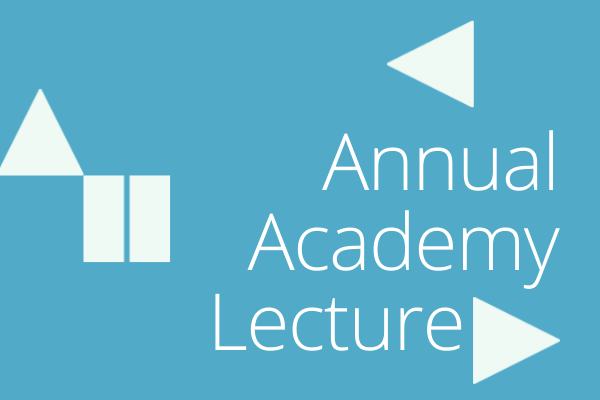 Blue box with title Annual Academy Lecture