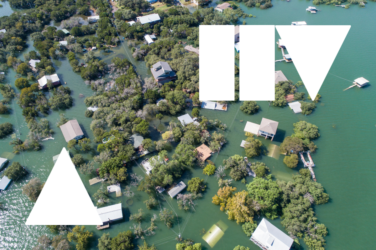Aerial shot of flooded suburb