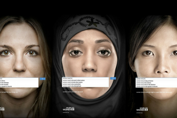 The main image is from the 2013 United Nation's Women Search Engine Campaign by Memac Ogilvy and Mather Dubai. The campaign uses the world's most popular search engine to show how gender inequality is a worldwide problem. The adverts show the results of genuine searches, highlighting popular opinions across the world wide web.