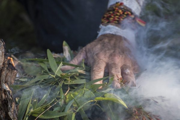 Indigenous hand on top of gum leaves and sticks that are giving off smoke